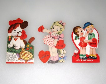 Vintage Valentine Cards / 3 Used, Die Cut Mechanical Valentine Cards / Mixed Media / Paper Crafts / 1940s, 1950s / Free US Shipping