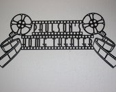 "Custom Home Theater Sign - Dual Movie Reels Film Strip Font 42"" By 19"""