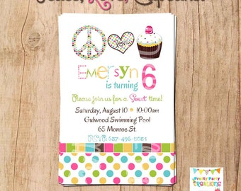 PEACE LOVE CUPCAKE invitation - you print - can also be done with a photo