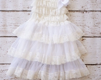 Flower Girl Dress - Baptism Dress - Cream Flower Girl Dress - Christening dress - Baby Dress - Rustic - Chiffon Flower girl Dress - Baby