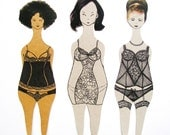 Paper dolls / bookmarks / set of 3 / The World Girls
