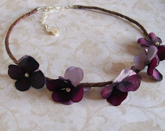 Dark Purple Flower Headband - Grapevine and Hydrangea - Custom Order to Your Choice of Colors