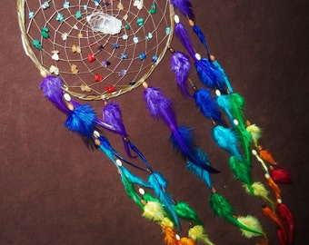 Dream Catcher- Chakra Love- White Willow Dream Catcher with a Quartz Crystal and a Whole Rainbow of Feathers- Made to Order
