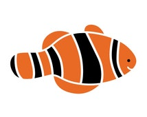 Clown Fish Wall Stencil for Painting Kids or Baby Room Mural (SKU252-istencil)