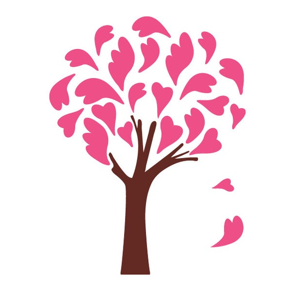 heart tree wall stencil for painting kids or baby room mural. Black Bedroom Furniture Sets. Home Design Ideas