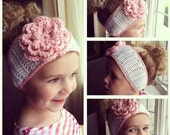 TODDLER EAR WARMER : white and pink crochet toddler ear warmer, headband with flower