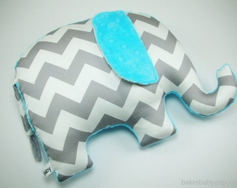 Turquoise Nursery Decor, Elephant Pillow, organic cotton, gray chevron elephant, modern nursery