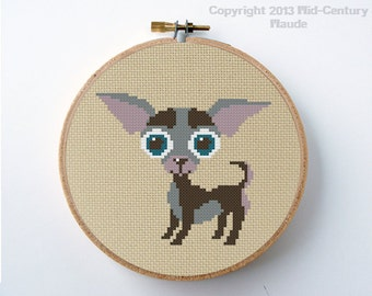 Chihuahua Dog Cross Stitch Pattern PDF Digital Needlepoint Instant Download Easy