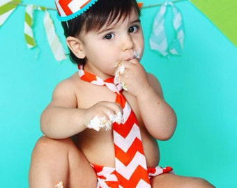 Baby / Boy Toddler Party Hat & Diaper Cover First Birthday Photo Cake Smash Outfit in Orange and White Chevron