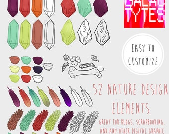 Nature Bits /Rocks feathers pinecone/ Clipart, .PNG files Royalty Free, Instant Download