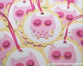 Pink Owl, Owl Baby Shower, Owl Birthday Party, Gift Bag Tags, Treat Bag Tags -- SET of 12