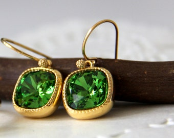 Emerald Earrings, Green Crystal Earrings, Cushion Cut Crystal, Bridesmaids Gift  (10962)