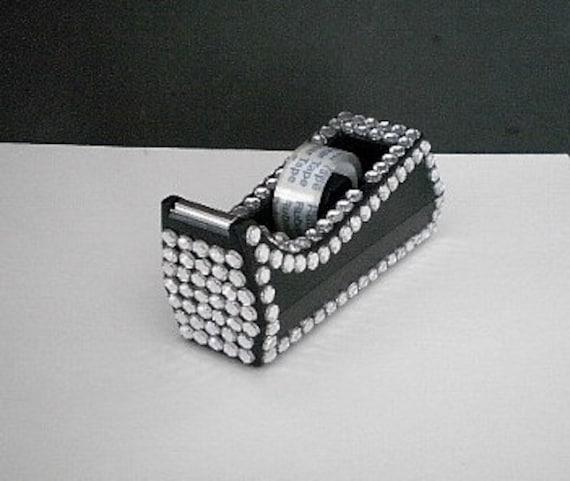 BLING TAPE DISPENSER - Full size black and bling tape dispenser w/ clear rhinestones