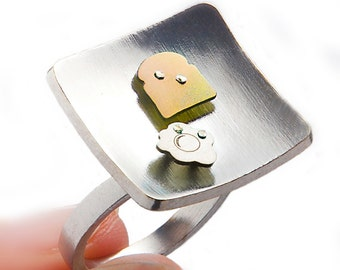 Miniature food ring, breakfast jewelry, miniature breakfast, mini food jewelry, toast bread egg, sterling silver ring, funny women gift
