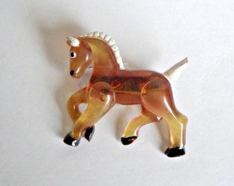 Brooch Pin Brooch Vintage Brooch Lucite Horse