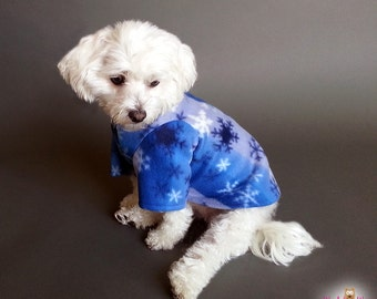 Dog Sweater with Gradient Blue with Snowflakes Design, 2 Leg or 4 Leg Style