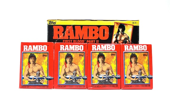 4 Rambo First Blood Sticker & Picture Card Packs 1985