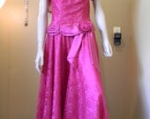 Southern Bell Ball Gown. FUSHIA Rose .swag sash.  Big Puffed shoulders.Illusion Lace. 1980S vALLEY GIRL Style gown.Prom.Wedding. Cocktails