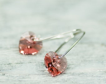Small Valentine Heart Earrings, Swarovski Crystal Earrings, Peach Rose Spring Jewelry, Minimalist Romantic Earrings, Heart Crystal Earrings