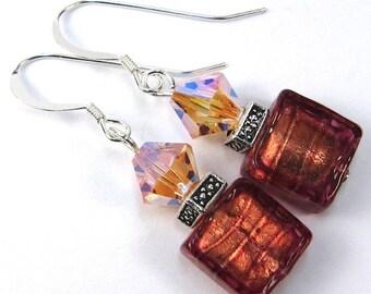Red Striata Venetian Glass and Peach Swarovski Earrings