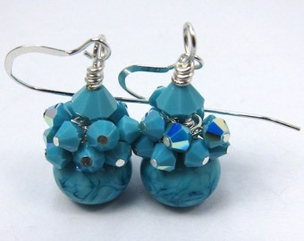 Blue Earrings, Turquoise Lampwork and Swarovski Crystal Confetti, Beach Earrings, Beach Jewelry