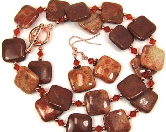 Red Fossil Coral Gemstone, Copper and Indian Red Swarovski Crystals, Necklace and Earring Set