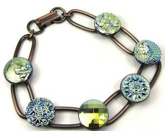 Blue and Black Czech Glass Button Copper Bracelet