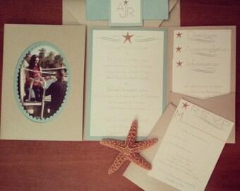 NEW Pocket frame Wedding Invitations-Metallic Beige and Aqua Starfish Beach Wedding Pocketfold Invitation