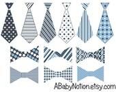 Baby iron on ties and bowties blue gray polka dot