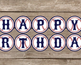 INSTANT DOWNLOAD Baseball Happy Birthday Banner