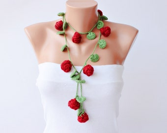 Crochet lariat scarf  ,flower  crochet  lariat necklace ,lariat crochet jewelry, red roses