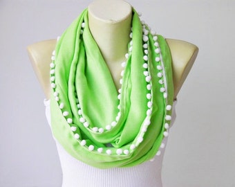 Lime green ponpon trimmed Infinity scarf Loop scarf pashmina fabric adult scarf
