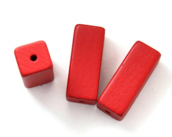Large Red Wooden Beads, Wooden Rectangle Beads 5pcs W 70 020