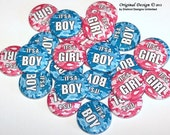 "Pink & Blue Camo Camouflage Gender Reveal Party Set of 24 Buttons Baby Shower Favor 1"" or 1.5"" or 2.25"" Pin Back Button 1"" Magnets"