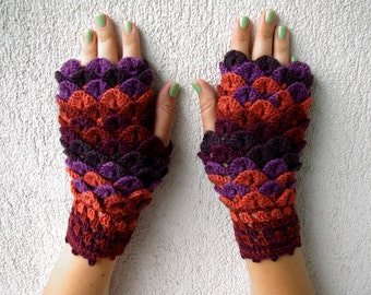 Fingerless Gloves Arm warmers Winter mittens Womens gloves Dragon scale gloves Costume gloves Elegant gloves violet coral lavender burgundy
