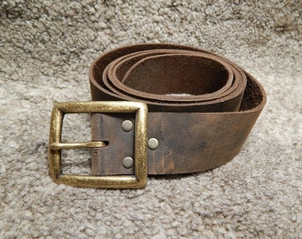 Medieval leather belt with massive square buckle, black or brown, SCA, LARP