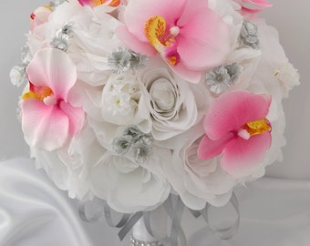 "Silk Flower Bouquet Silk Wedding Arrangements Artificial Flowers Silk Wedding Bridal Bouquet SILVER PINK ""LILYOFANGELES"" WTPI03"