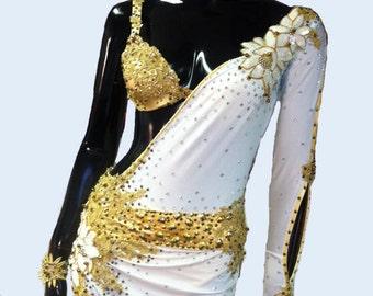 White and Gold Latin Dance Dress  Dance Dress Latin