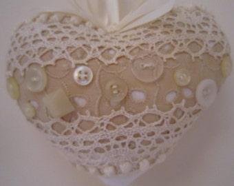 Ivory and Ecru Shabby Heart