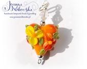 Handmade lampwork pendant, Glass pendant, Heart pendant, Orange pendant, Yellow pendant, Orange heart, Flower pendant, Flower heart