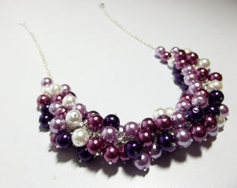 Christmas Plum Wine Lilac Pearl Cluster Necklace, Bridesmaid Mom Sister Grandmother, Wedding Jewelry, Silver
