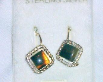Vintage NOS Sterling Silver Faux Tortoise Shell Earrings