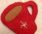 Red Felt Coffee Cup Christmas Ornament
