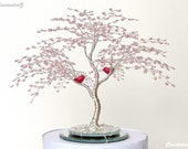 Love Birds Cherry Blossom Wire Tree Wedding Cake Topper. Large. Gold Silver Blue Green Pearl Red - CUSTOMIZABLE/Made to Order