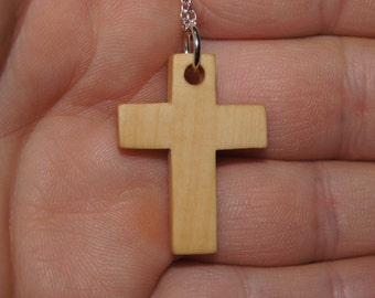 SALE - Olive wood cross necklace &  Sterling silver chain