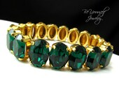Emerald Bridal Bracelet Green Wedding Bracelet Swarovski Crystal Chunky Bride Bracelet Gold Wedding Jewelry Emerald Bridesmaid Jewelry