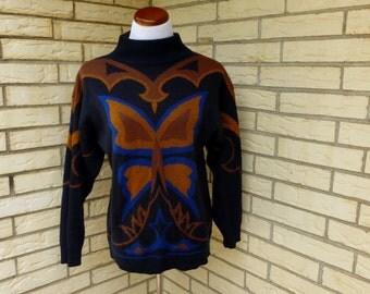 1980s Butterfly Sweater Oversized Graphic Mock Turtleneck Black Winter Mod Look Womens Vintage Medium