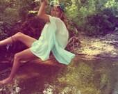 Infinite Waterfall ombre Caftan in Seafoam Blue