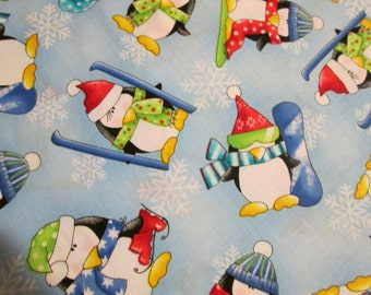 Penguins Ski Snowboard Blue Snowflake Cotton Fabric Fat Quarter or Custom  OOP