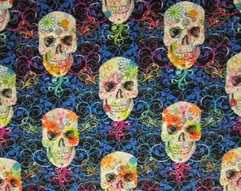 Skulls Day Of The Dead Blue  Cotton Fabric Fat Quarter or Custom Listing